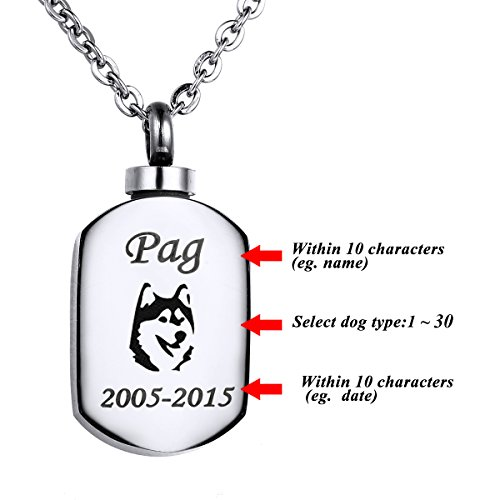 VALYRIA Polished Stamp Blank Pendant Urn Keepsake Cremation Ashes Necklace with Personalized Engraving (Urn Necklaces For Dog Ashes compare prices)