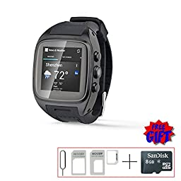 V.one Full Metal Shell Smart Watch Phone 3G SIM Card WCDMA GSM Android Wifi GPS Tracker Camera Unlocked Waterproof Phone Watch Support 32g Tf Card Black Color