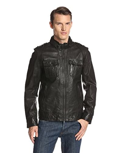 Vince Camuto Men's Distressed Four Pocket Leather Jacket