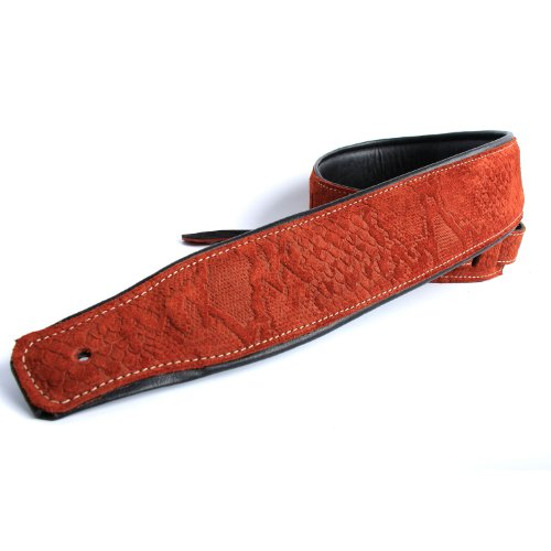 Orange Snake Skin Suede Guitar Strap Electric/Acoustic/Electro/Bass (1.31M)