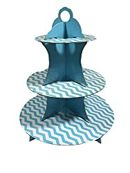 PrettyurParty Blue Chevron Cupcake Stands