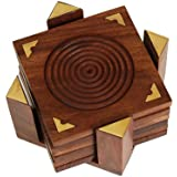 Christmas Gifts Set of 6 Wooden Drink Coasters Fine Polished with Holder, Kitchen Dining Accessories