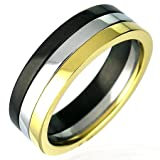 Gents Multi Coloured Stainless Steel Band Ring, 6mm Wide.
