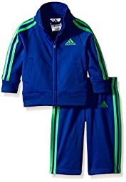 adidas Baby Boys\' Iconic Tricot Jacket and Pant Set, Bold Blue, 12 Months