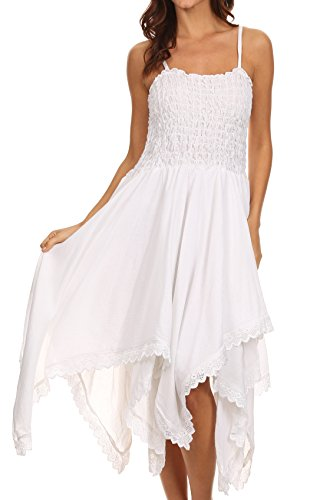 Sakkas Ella Smocked Bodice Spaghetti Strap Double Layered Dress