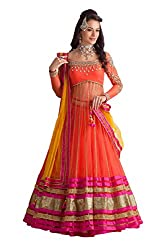 Fab Glory Women's Lehenga Choli in orange colour with dupattaa (Semi-Stitched)