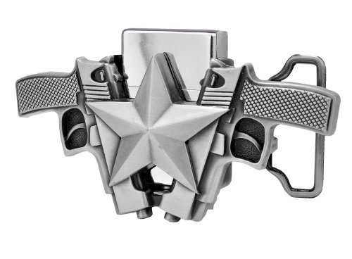 Double Pistol Star Removable Lighter Belt Buckle Guns Weapons