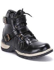 Desi Saga Men's Faux Leather Boots Black
