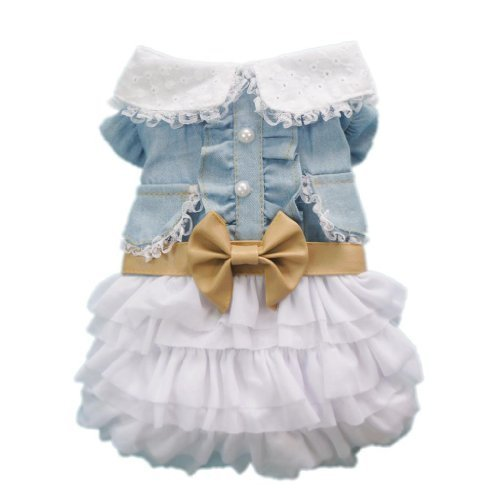Fairy Denim Dog Dress for Dog Clothes Charming Cozy Dog Shirt Pet Dress S