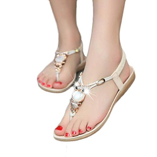 Tenworld Women Summer Bohemia Flat Sandals Owl Beach Clip Toe Shoes (8, Beige)