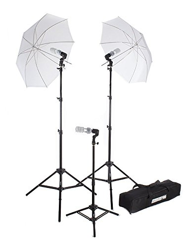 StudioPRO 675W Triple Translucent Umbrella Continuous Bright Lighting Kit for Photo, Photography, Film & Video Studio – (Set of 3)