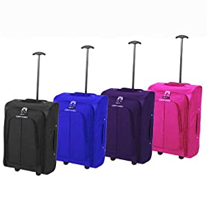 More4bagz Cabin Approved Lightweight Hand Luggage Trolley Wheeled Suitcase Baggage Holdall Black, Blue, Pink, Purple