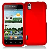 Red Rubberized Snap-On Hard Skin Case Cover New for LG Optimus Black P970 / LS855 / LG B - Electromaster(TM) Brand