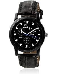 Watch Me Black Dial Black Leather Strap Watch For Boys WMC-003