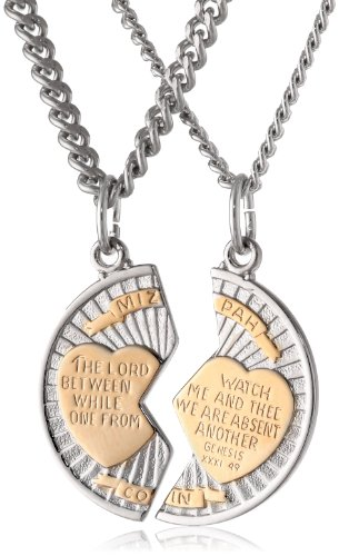 "Sterling Silver Mizpah Medal Necklace with Stainless Steel Chains, 20"" and 24"": Jewelry"