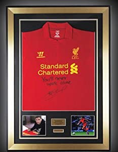 Hand Signed Steven Gerrard Liverpool FC 2013 Framed Jersey Shirt Limited Edition Memorabilia by MirrorOutlet