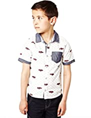 Autograph Pure Cotton Car Print Shirt