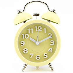 PiLife 3 Silent Non-ticking Vintage Classic Bedside Alarm Clock with Backlight, Battery Operated Travel Clock, Twin Bell Loud Alarm Clock( 3D Yellow)