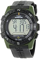 Timex Men's T49852 Expedition Rugged Digital Vibration Alarm Green/Black Resin Strap Watch