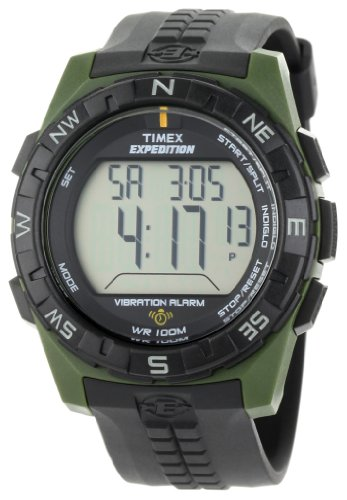 Timex Men'S T49852 Expedition Rugged Digital Vibration Alarm Green/Black Resin Strap Watch front-943602