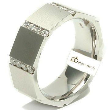 Mens Diamond Wedding Bands 46ct VVS E F 14K White Gold Contemporary Octago