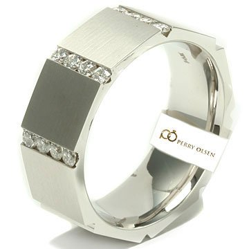 Mens Diamond Wedding Bands 46ct VVS E F 14K White Gold Contemporary Octagon Shaped High End