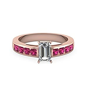 1.25 Carat Pink Sapphire Emerald Cut Channel Set Round Diamond Gemstone Ring GIA (H Color, VVS1 Clarity)