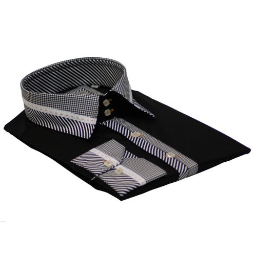 Men Shirt Italian Design High Collar Slim Fit Smart Casual Formal Double Button SL370 Black XL