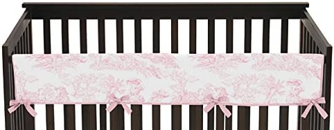 Pink French Toile Long Front Rail Guard Baby Girl Teething Cover Protector Crib Wrap
