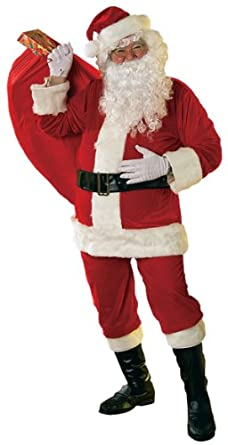 Mens Velour Santa Claus Father Christmas Xmas + Wig + Beard Fancy Dress Costume Outfit