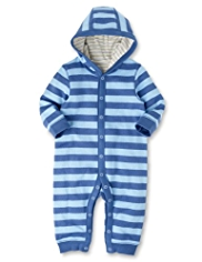 Pure Cotton Striped Hooded Onesie