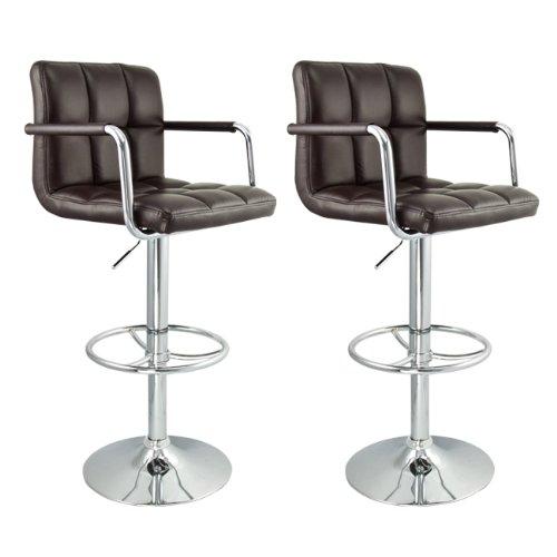 Strange 2 Swivel Dark Brown Elegant Pu Leather Modern Adjustable Machost Co Dining Chair Design Ideas Machostcouk