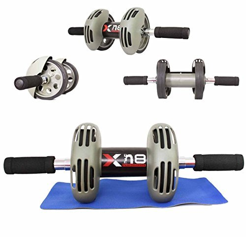 Abs Wheel dual Exercise Roller Abdominal Gym Home Training Body Fitness Slim Trim Tone Exerciser Back Thigh Arms Waist Workout Machine with Free Knee Mat by Xn8 Sports