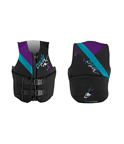 O' Neill REACTOR 3 gilet Black Pet GRPH, Donna, T73 BLK/TURQ/UV, 10