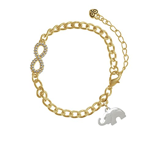 Silver Elephant with Crystal Eyes Gold Crystal Infinity Bracelet