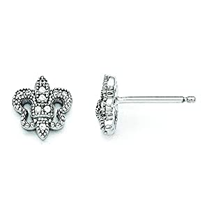 Sterling Silver & Cz Brilliant Embers Polished Fluer De Lis Post Earrings