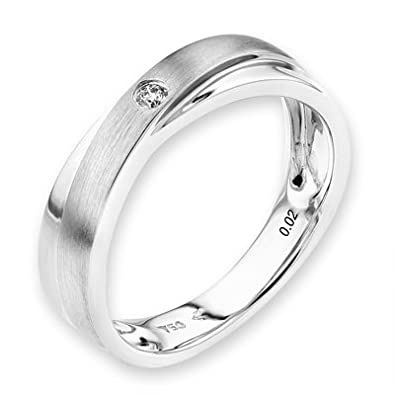 18K White Gold Two Tone Infinity Cross Brush Stain Round Diamond Men Wedding Band (0.02 cttw, G-H Color, VS2-SI1 Clarity)