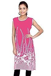 Kurti Studio Womens Festive Pink Printed Jaipuri Cotton Kurti