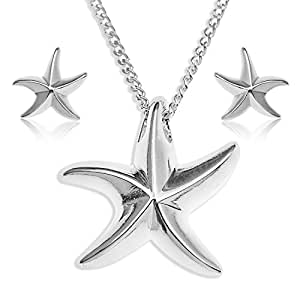 Ornami Ladies' Starfish Necklace and Earrings Set, Silver, Model S-PE001STAR 45 cm