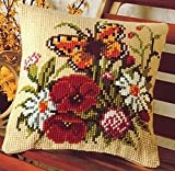 Cross Stitch Cushion Front Poppies Butterflies