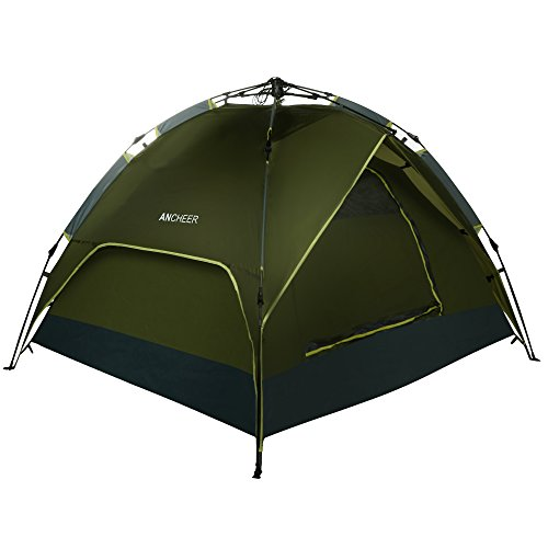 Ancheer-Camping-Tent-Army-Green-Double-Layers-3-4-Person-Quick-Pop-Up-Waterproof-Hiking-Portable-Tent