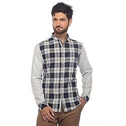 Apris Mens F/slv Mix-Match Style Shirt-BLACK (S-3327) (XL)