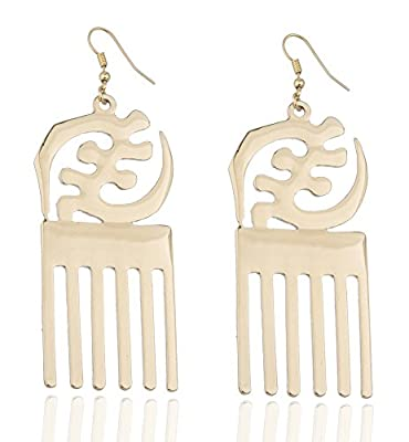 Goldtone Adinkra Symbols of West Africa Design Dangle Earrings