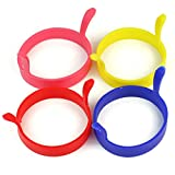 PIXNOR 4pcs Round Silicone Egg Pancake Ring Molds with Handle - 4 Colors