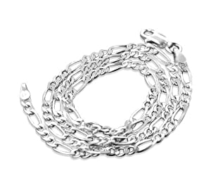 "Diamond-Cut 3mm Wide Sterling Silver 24"" Figaro Chain Necklace Italian Made"