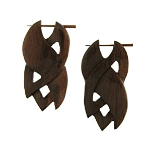 SIBERUT - Organic Hand Carved Sono Wood Earrings with Wood Post - From Indonesia - Sold as a Pair - 25mm x 55mm