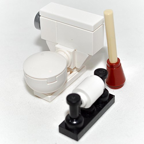 LEGO Furniture: Toilet Bowl Set - Custom Designed with Toilet, Plunger & Toilet Paper Roll - 1