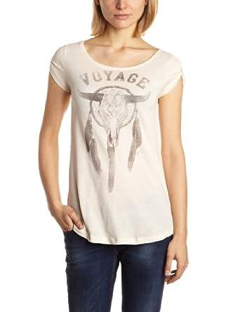 ONLY Damen T-Shirt 15071664/NEW HIPSTER SHAKE/VOYAGE SS TOP BOX BB, Gr. 34 (XS), Elfenbein (ANTIQUE WHITE Detail: Voyage Print)