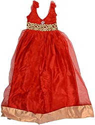 Kanchoo Girls' Long Frock (BSKF041_6-7 Years, Red, 6-7 Years)