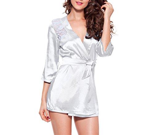 Lingerie Kimono ricamato sexy pizzo vestaglia camicia da notte. MEDIA WAVE store. (S/M, BIANCO)